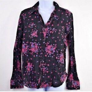 Decree Floral Button Up Snap Blouse